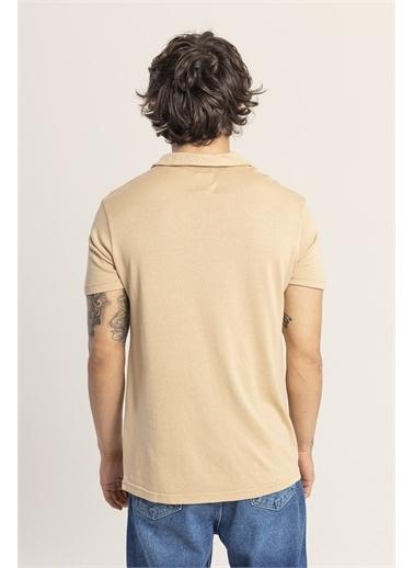 XHAN Ekru Yakalı Triko T-Shirt 1Kxe1-44809-52 Ekru